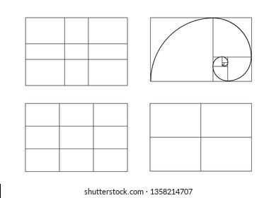 rules of photo composition. golden ratio, Rule of thirds (rule of thumb),  illustration. full hd video format