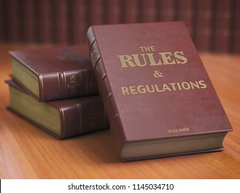 Rules an regulations books with official instructions and directions of organization or team. 3d illustration