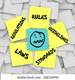 Rules, Regulations, Laws, Standards and Guidelines words on yellow sticky notes on a bulletin board  and a stressed face at the center