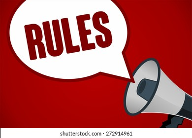 RULES word out of megaphone