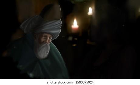 Rumi standing on a dark room