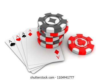 Rummy and Poker. 3d render