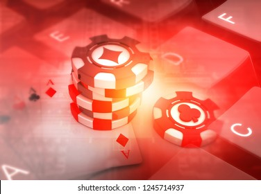 Rummy and Poker on keyboard. Oline play. 3d  illustration