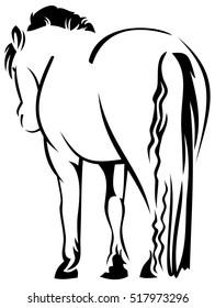 Rump of a horse. Raster clip art.