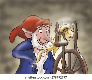 Rumpelstiltskin the elf is spinning with a magic spindle making gold. Digital illustration for Grimm's fairy tale.