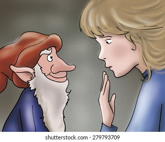 Rumpelstiltskin the evil elf is talking with a princess. Digital illustration for Grimm's fairy tale.