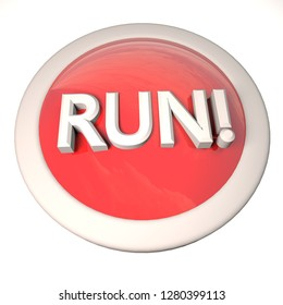 Run button over white background, 3d rendering