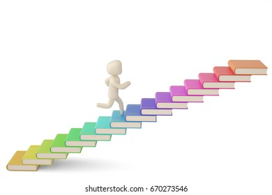 A run character on colorful book stairs on white background.3D illustration