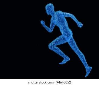 Run digiital men. Texture 3d models a blue transparent grid on a black background