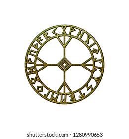 Rune Algiz with Futhark Runes Circle