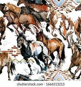 runing horses seamless pattern. Wild western background. watercolor tribal texture. equestrian illustration