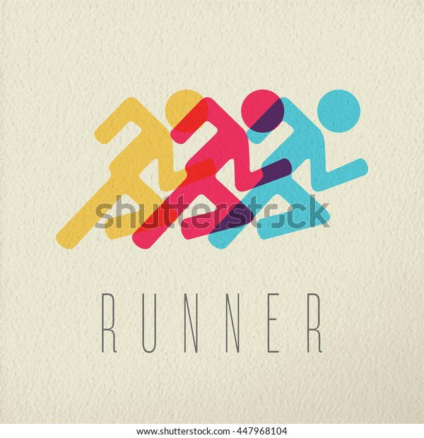 Runner athlete icon concept, marathon people silhouette in color style over texture background.