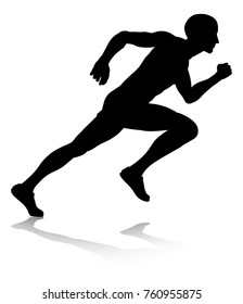 A runner or athlete in silhouette sprinting or running