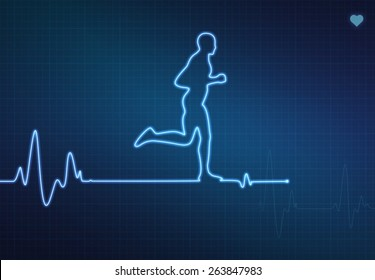 Runner-shaped blip on a medical heart monitor (ECG - electrocardiogram) with blue background and heart symbol.
