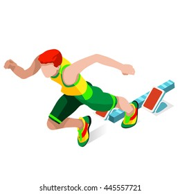 Running 100 Metres Dash Athletics Summer Games. Speed Concept. 3D Isometric Athlete. Sport of Athletics. Sporting Competition Race Runner. Sport Infographic Track Field events Illustration.