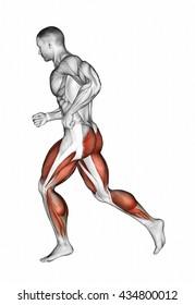 Running. 3D illustration