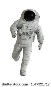 rannter Astronaut einzeln auf weißem Hintergrund (3D-Wissenschaftsgrafik)