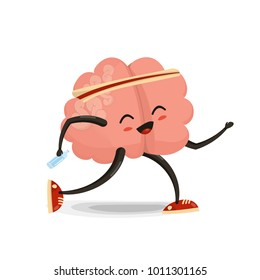 Running  brain cartoon character. Healthy and fitness. Flat illustration isolated on white