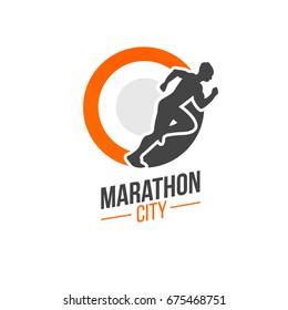 running club or city marathon branding  on white background