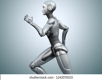 Running cyborg on bright background. 3D illustration