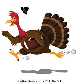 Running Football cartoon turkey