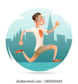 Running Geek Hipster Happy Sport Man Character Icon Retro Cartoon Design Background City  Illustration