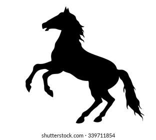 Running horse black silhouette.