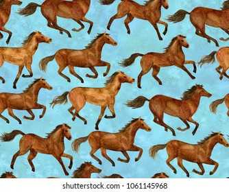 Running horses on blue background. Illustration hand-drawn with watercolor