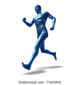 Running human isolated representing exercise and physical fitness