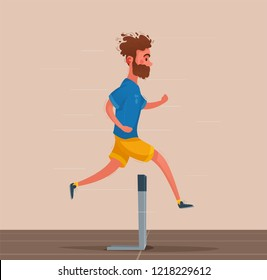 Running with obstacles. Sporty character. Cartoon  illustration. Person is training. Funny man runs and jumps.