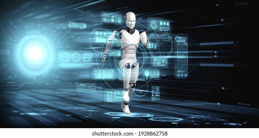 Running robot humanoid showing fast movement and vital energy in concept of future innovation development toward AI brain and artificial intelligence thinking by machine learning. 3D illustration.