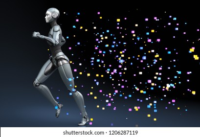 Running robot leaving a trace of pixels. 3D illustration