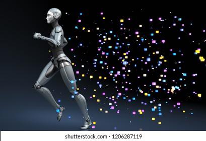 Running robot leaving a trace of pixels. 3D illustration