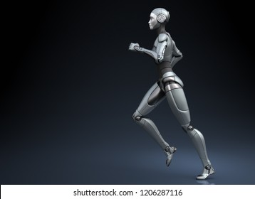 Running robot on dark background. 3D illustration