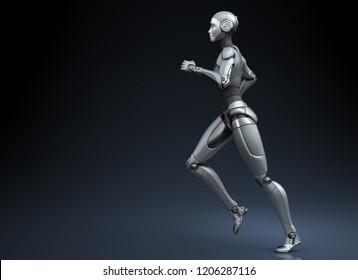Running robot on dark background. 3D illustration