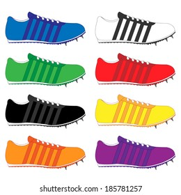 Running Shoes with Spikes and Stripes in Different Colours Blue White Green Red Black Yellow Orange Purple