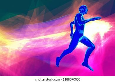 running sportive life or marathon runinng race concept 3d rendering illustration