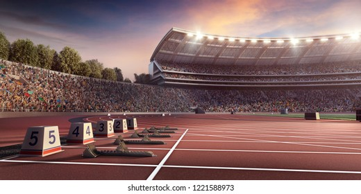 Running track 3D illustration. Professional athletics stadium. Starting line with starting block