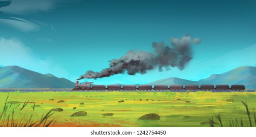 Running Train through Mountains. Fiction Backdrop. Concept Art. Realistic Illustration. Video Game Digital CG Artwork. Nature Scenery.