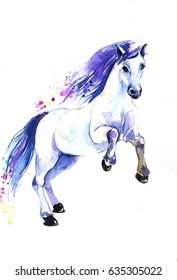 running white horse on a white background. watercolor illustration