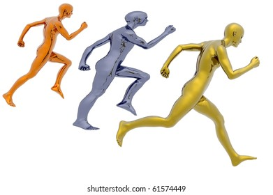 running winning gold medal business metaphor render