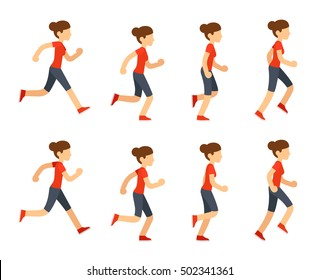 Running woman animation sprite set. 8 frame loop. Flat cartoon style illustration.