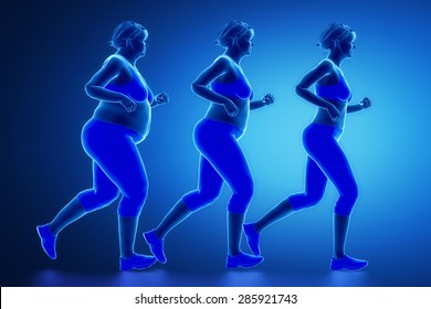 Running woman with obesity