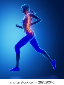 Running woman spine problem concept
