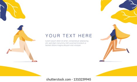 Runnning girl in the walk. Use in Web Project and Applications. Happy women or girls running together. Female, union of feminists, sisterhood. Shop sale banner for Website or Web Page