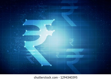 Rupee currency . 2D rendering illustration