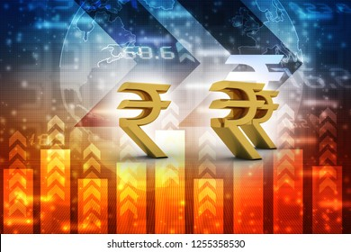 Rupee currency . 3D rendering illustration