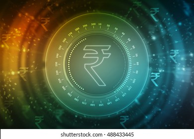 Rupee currency icon. 2D illustration