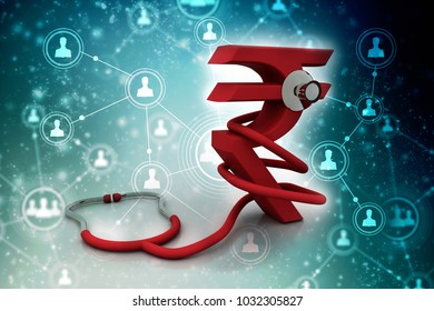 Rupee currency with stethoscope. 3D rendering illustration