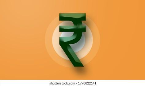 Rupee INR Symbol - Forex exchange financial symbols assets letters concept on India orange green flag background